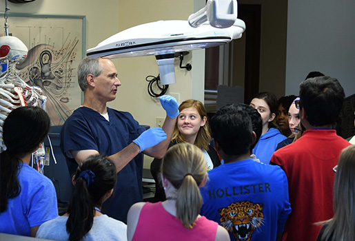 Instructor teaching in the cadaver lab.
