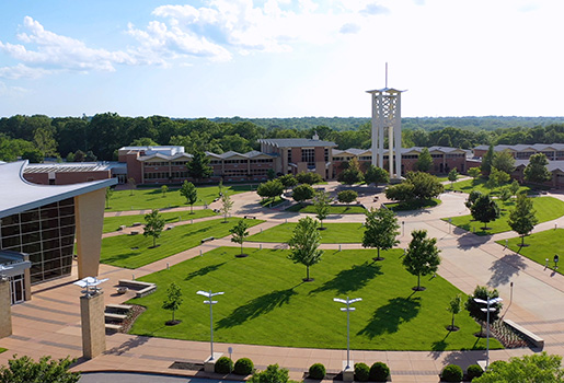 Aerial view of Logan's campus.