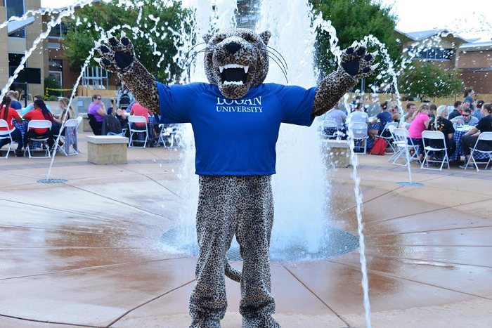 Logan the Leopard mascot on campus.