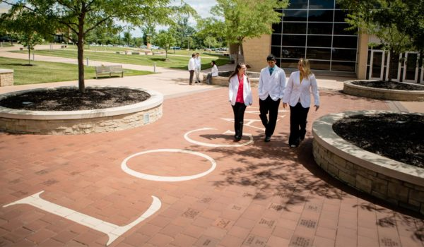 Students walking through campus while talking.