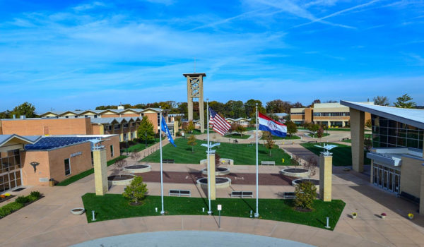 Drone view of Logan campus