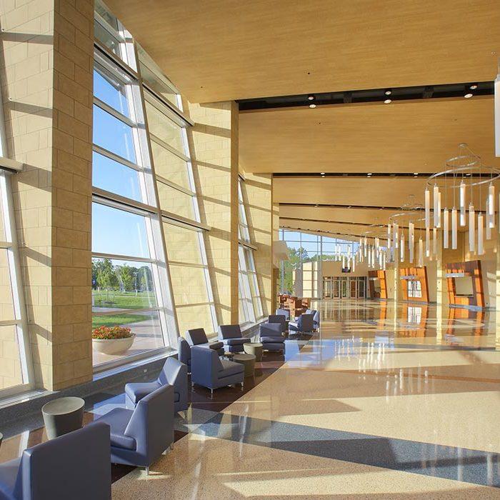 Inside lobby of Purser Center.