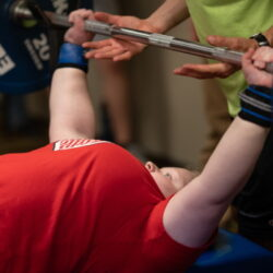 Competitor lifts during 2019 Junior Nationals; Photo by Reed Hoffmann, courtesy of Move United.