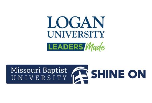 Logos for Logan University Leaders Made and Missouri Baptist University Shine On